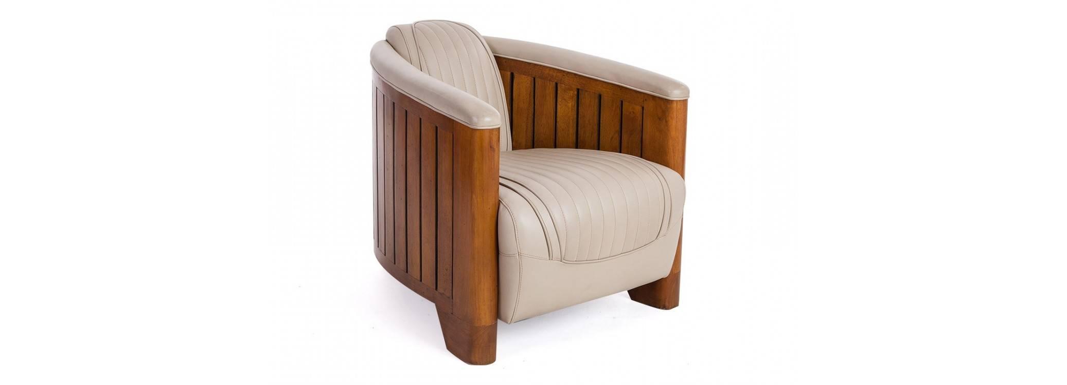 Canoë armchair - Beige leather