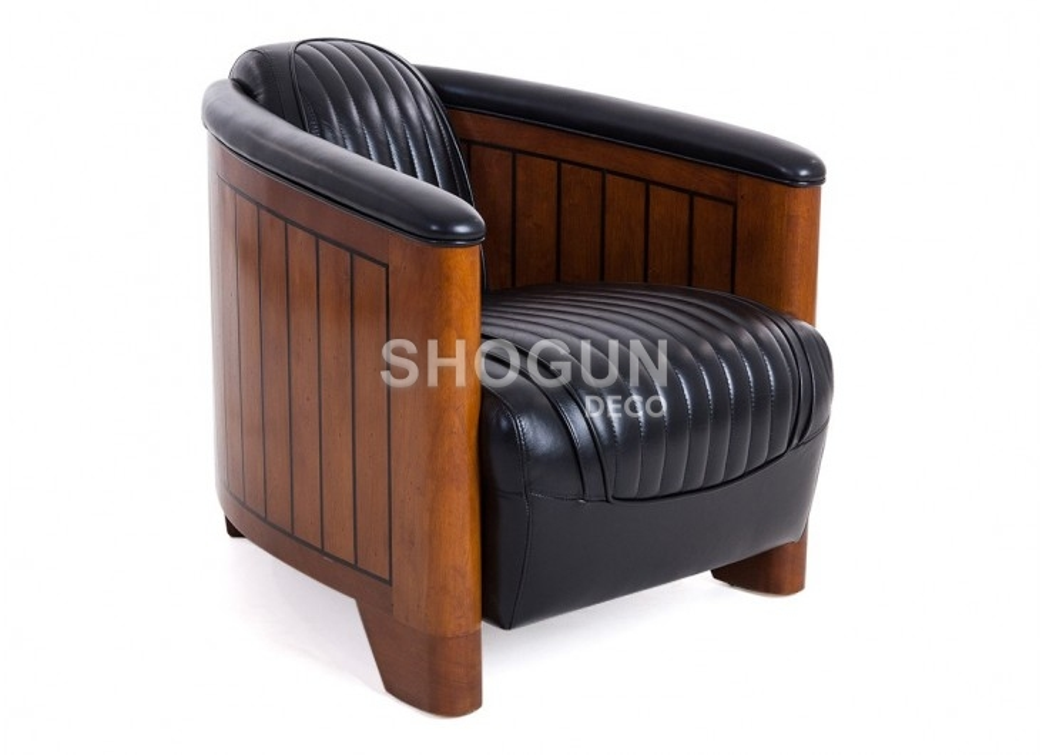 Canoë armchair - Black leather