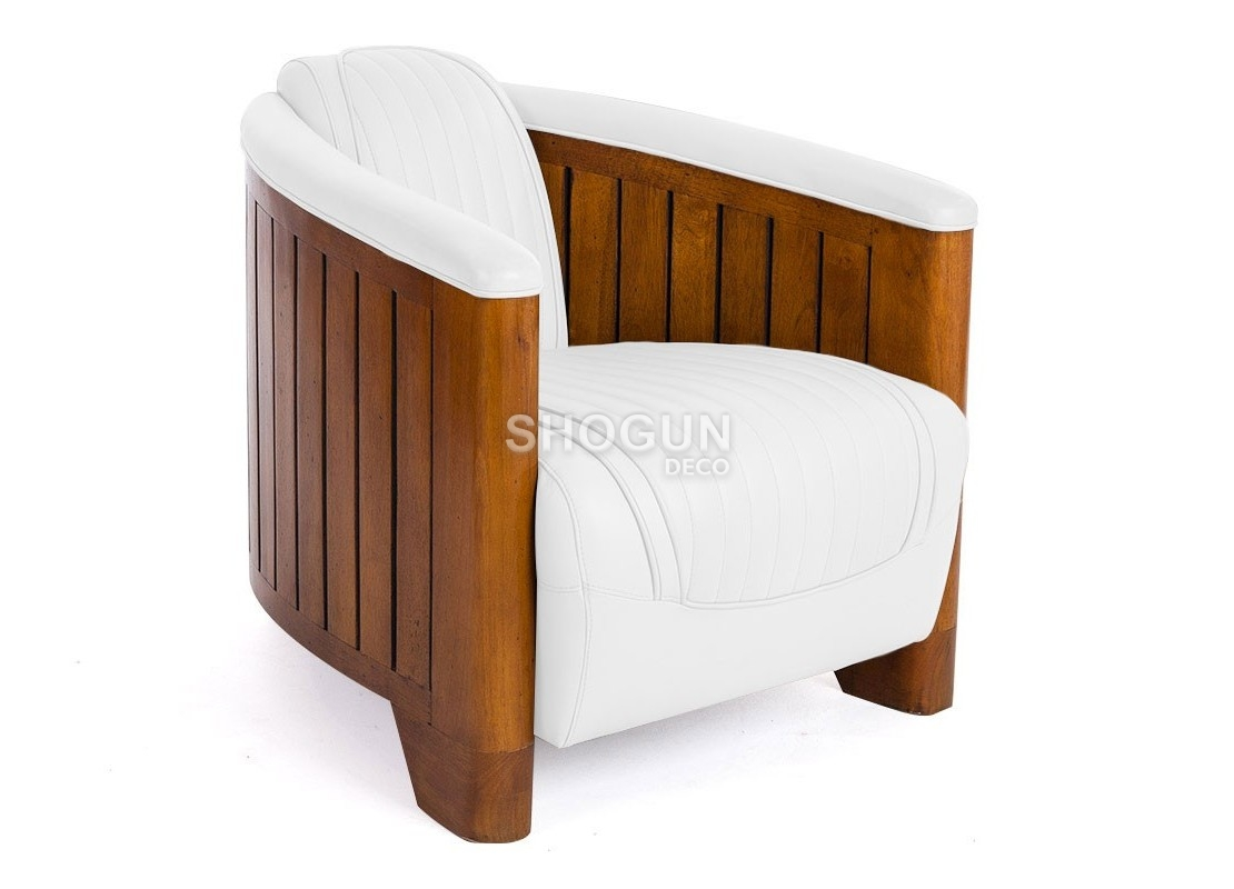 fauteuil club cuir blanc structure en bois design et relax. Black Bedroom Furniture Sets. Home Design Ideas