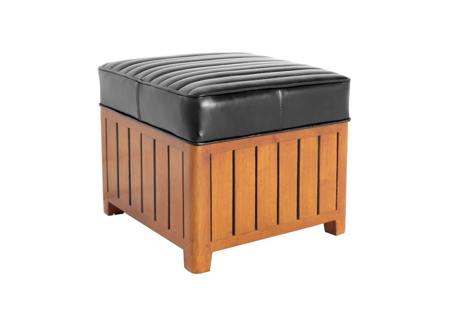Pouf carré Canoë en cuir noir