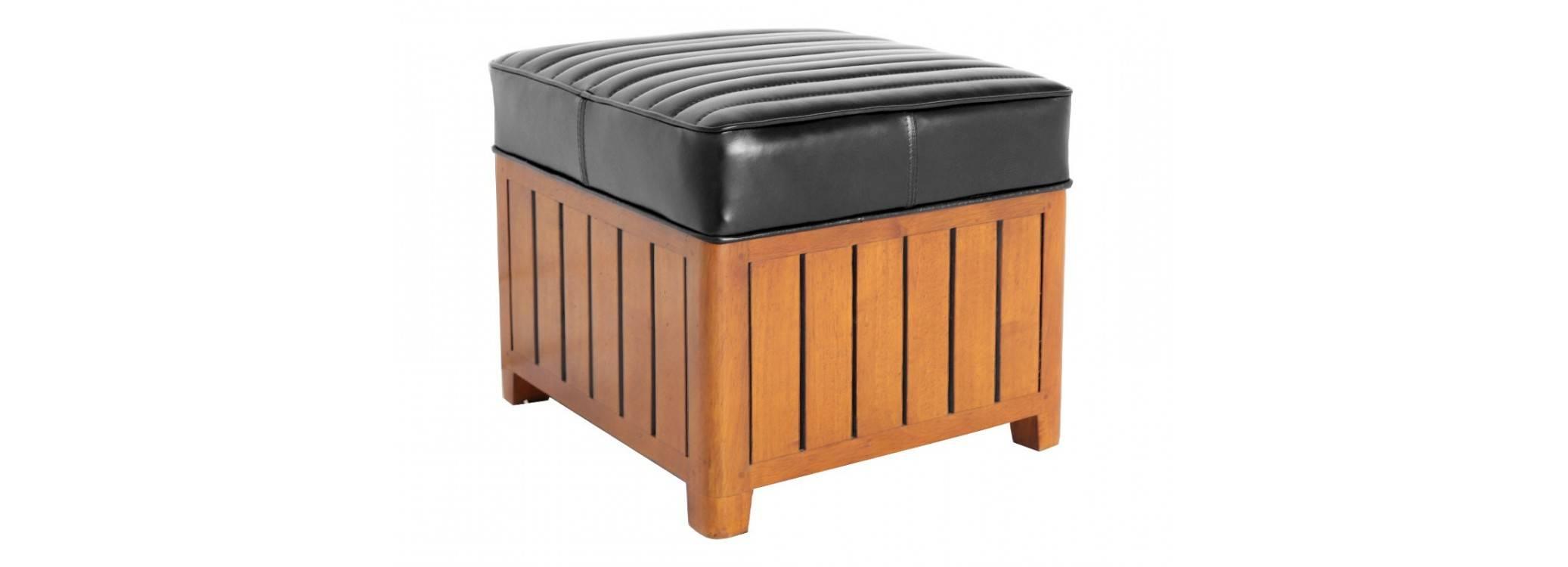 Pouf carré Canoë - cuir noir