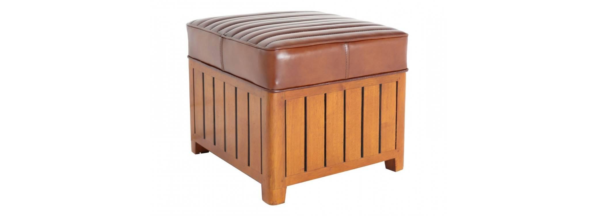 Pouf carré Canoë - cuir marron