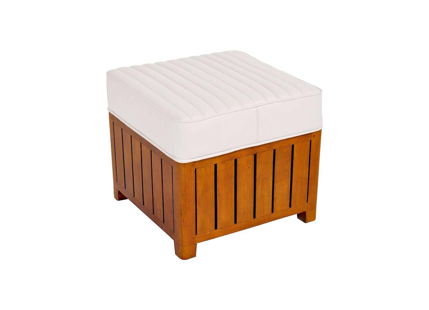Pouf carré Canoë en cuir blanc