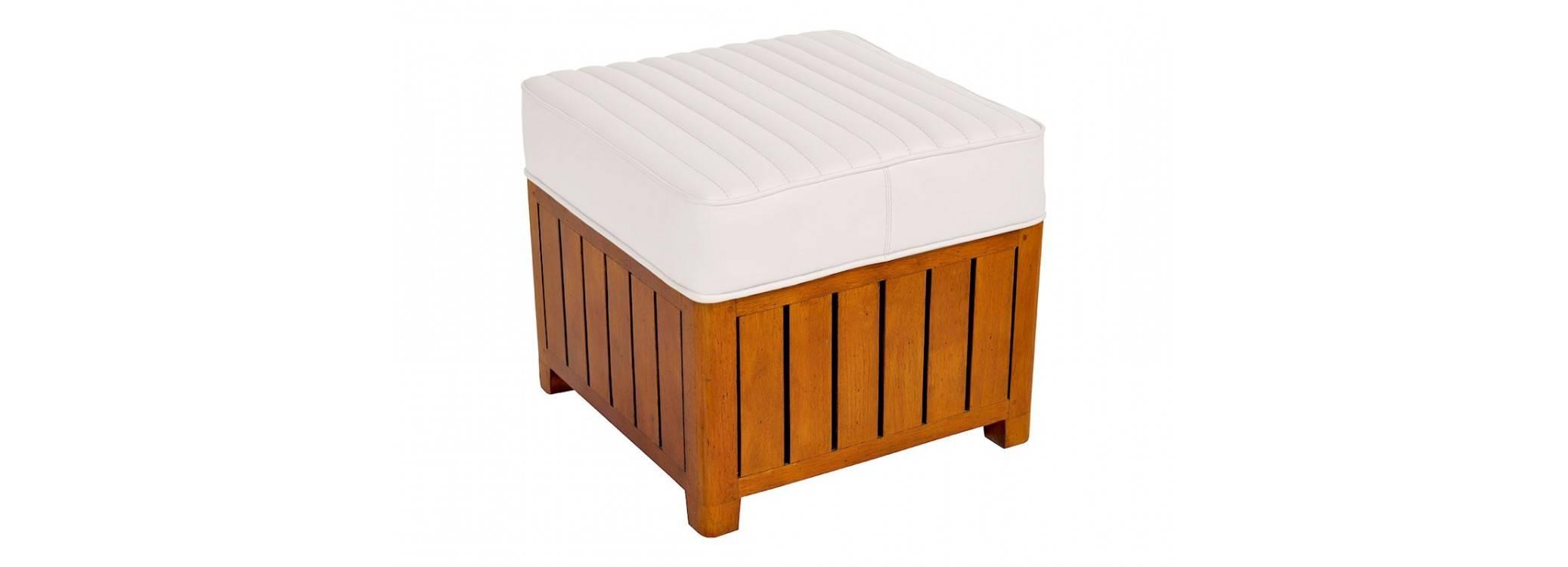 Pouf carré Canoë - cuir blanc