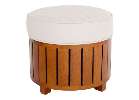 Canoë round footstool - white leather