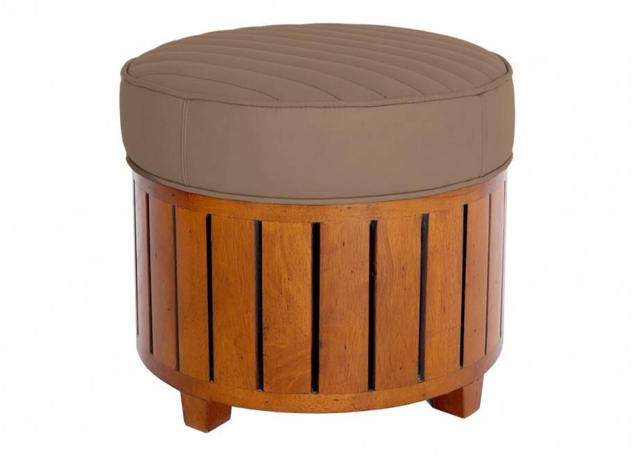Canoë round footstool - taupe leather