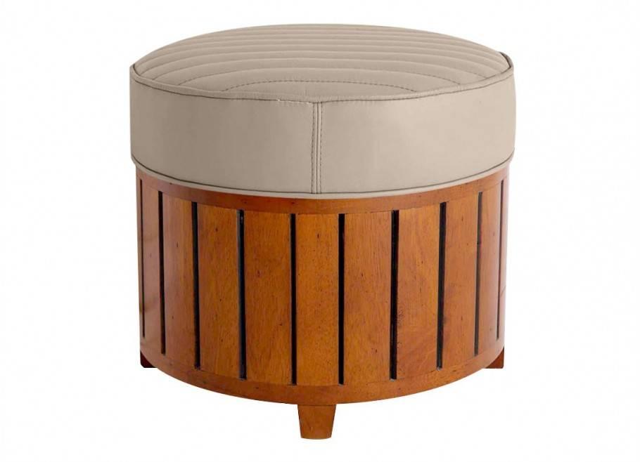 Canoë round footstool - beige leather