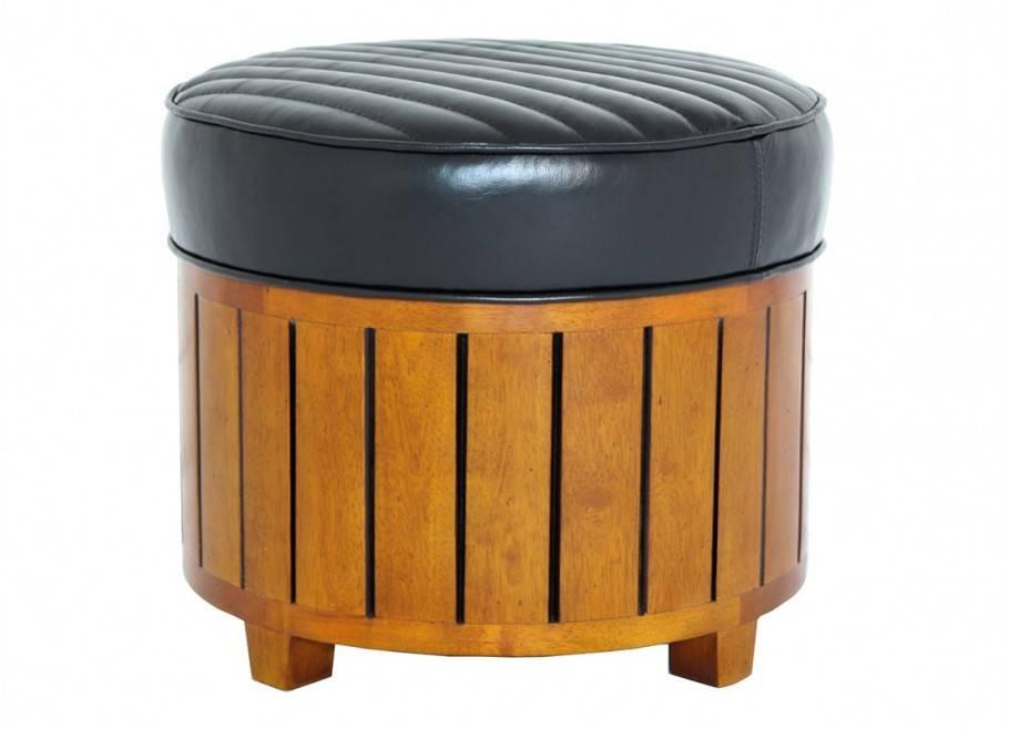 Canoë round footstool - black leather