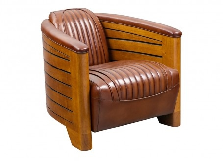Pirogue armchair - Brown leather