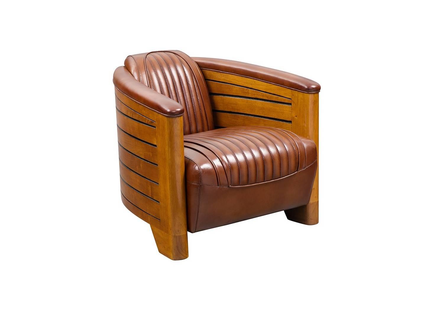fauteuil club pirogue vintage bois et cuir. Black Bedroom Furniture Sets. Home Design Ideas