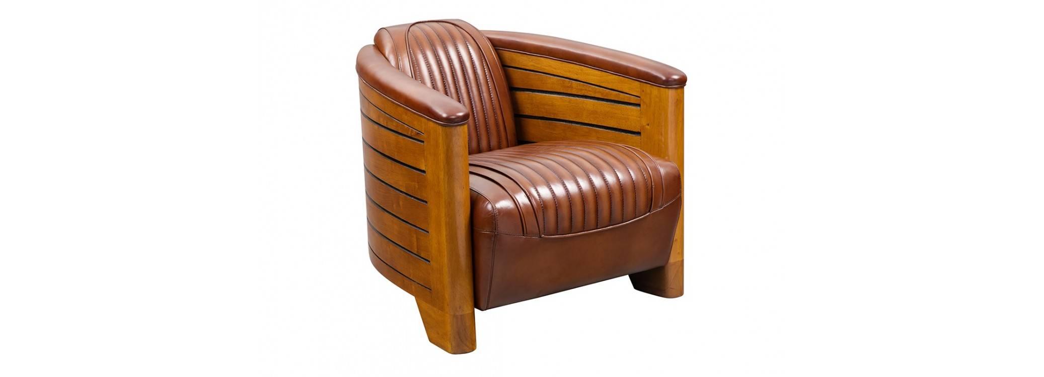 Fauteuil club Pirogue cuir vintage