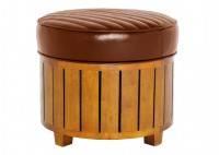 Pouf carré Canoë en cuir marron vintage