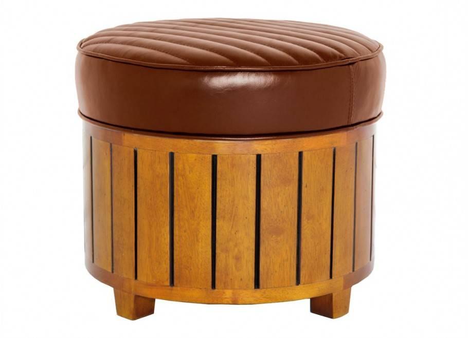 Canoë round footstool - brown leatherstool - black leather