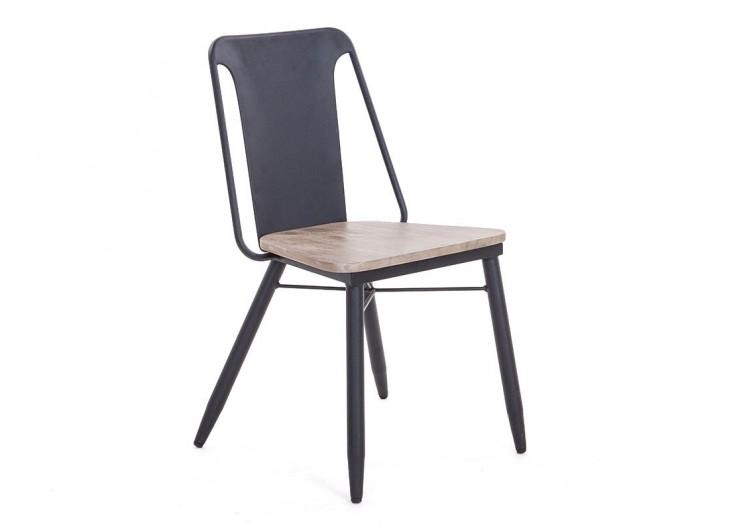 Chaise design Alba en métal et assise en bois
