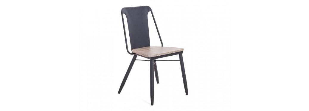 Chaise en métal noire Alba