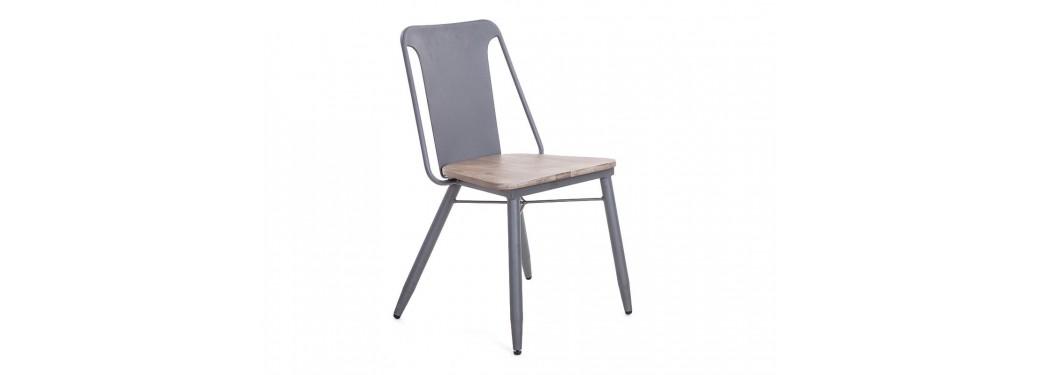 Chaise Alba - Métal gris et bois