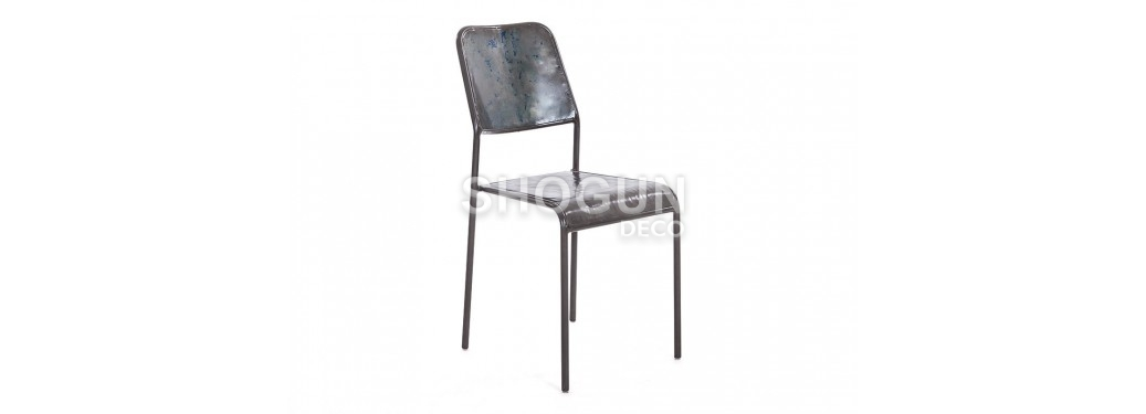 Chaise Cube Drum - Dossier et assise métal