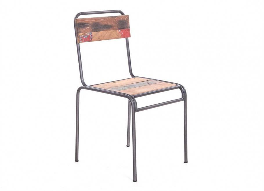 Chaise d'écolier Loundge en métal et en bois