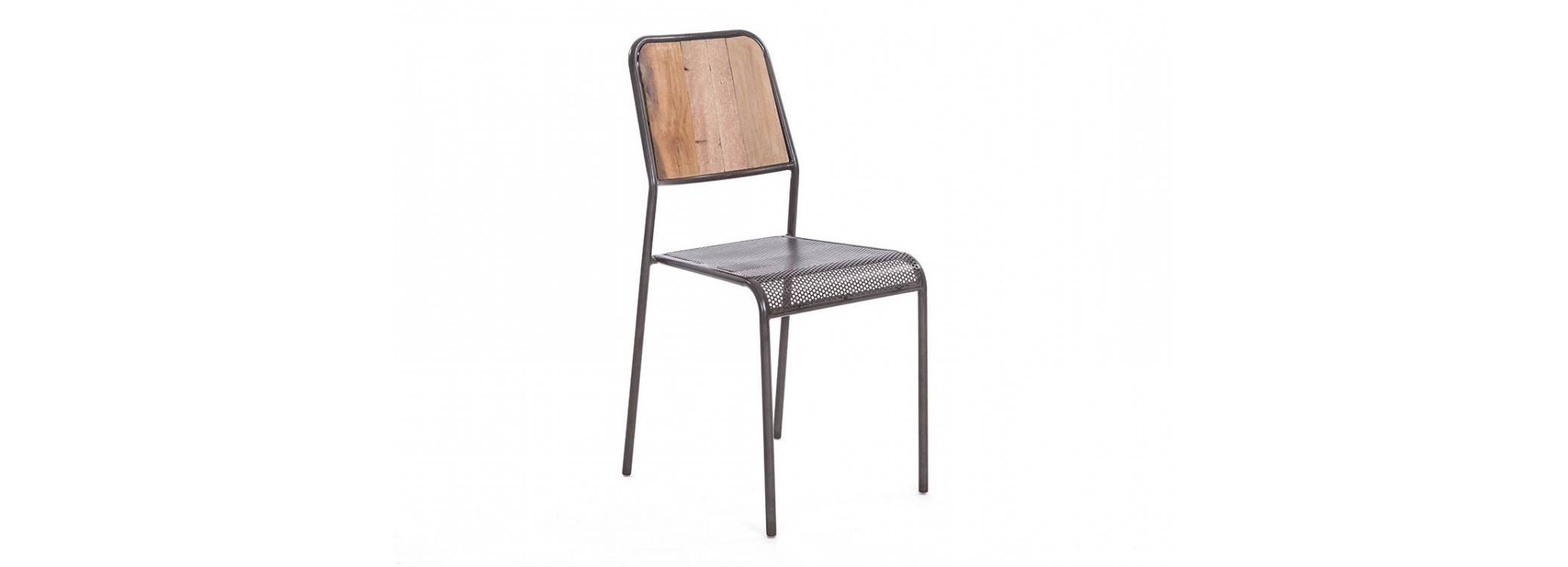 Chaise Cube, dossier bois et assise métal