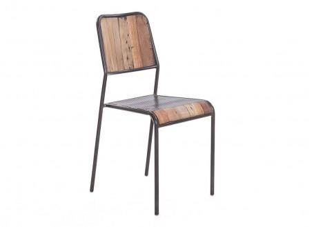 Chaise avec siège perforé et dossier en bois