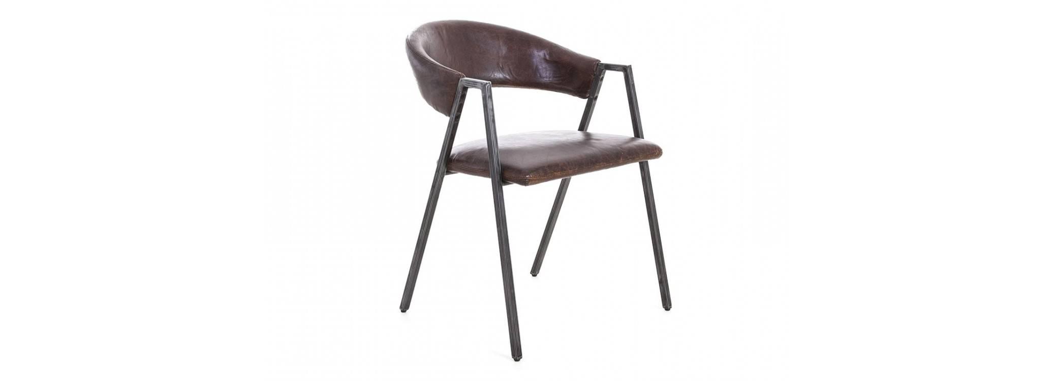 Chaise Chester - Cuir marron et métal noir