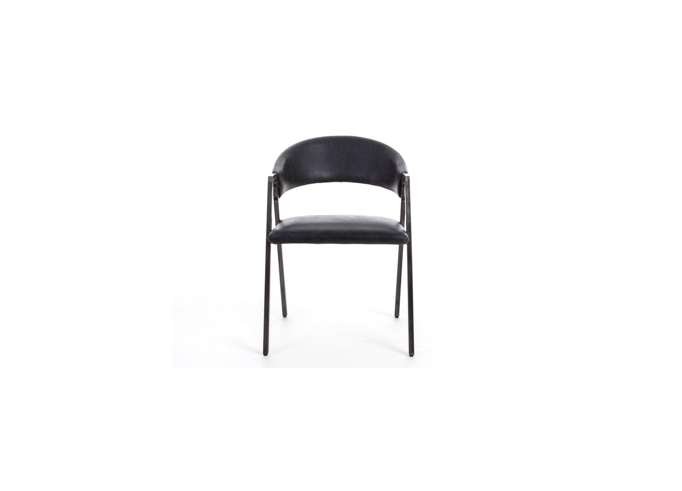 chaise en cuir et metal noir. Black Bedroom Furniture Sets. Home Design Ideas