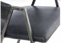 Chaise en cuir vintage et métal noir - L56 cm