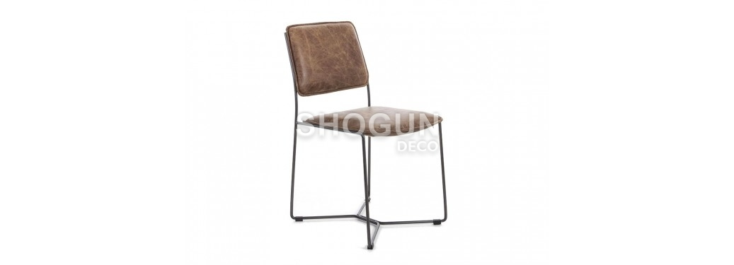 Chaise Seymour - Cuir marron et métal noir