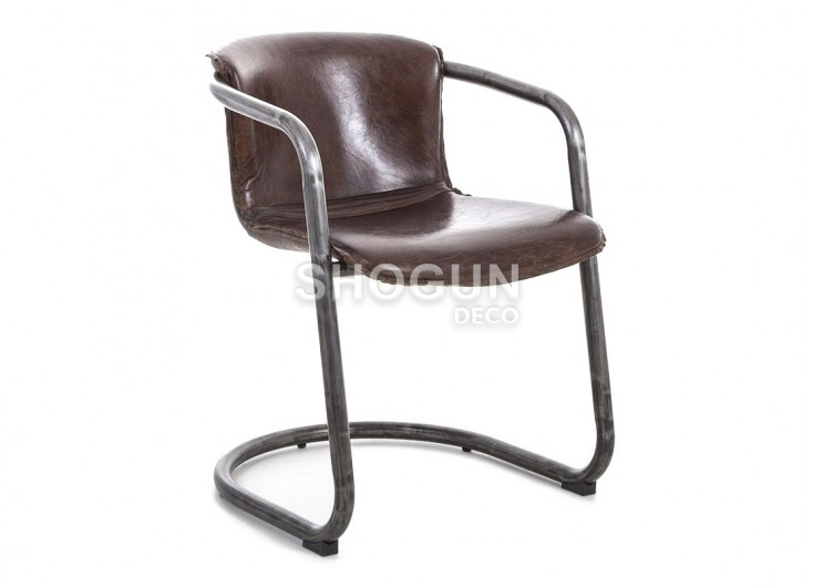 Chaise En Cuir Vintage Et Metal