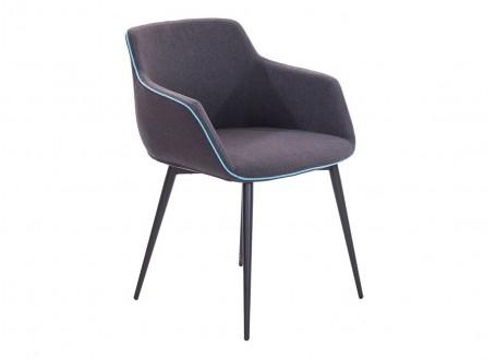 Chaise avec accoudoirs en tissu gris et liseré bleu - L60 cm
