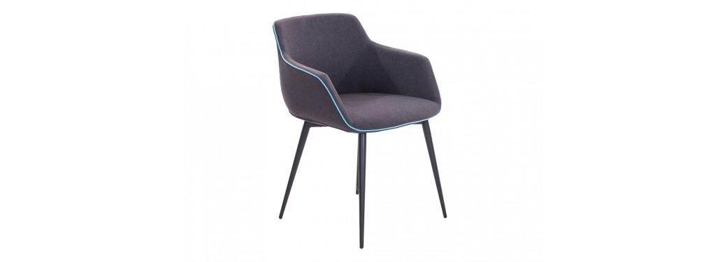 Chaise contemporaine Lovo - Tissu gris et liseré bleu