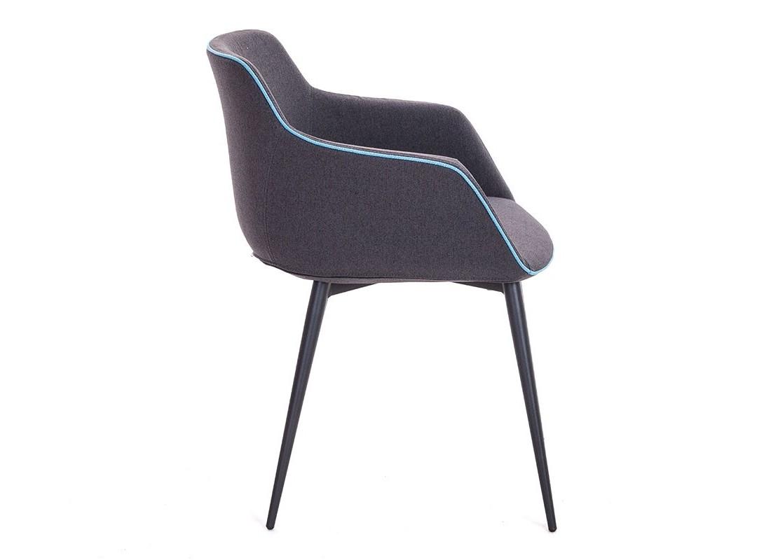 Chaise Avec Accoudoirs En Tissu Gris Et Lisere Bleu