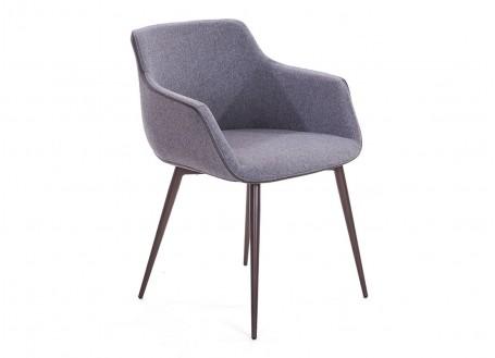 Chaise contemporaine avec accoudoirs en tissu gris et liseré taupe - L60 cm