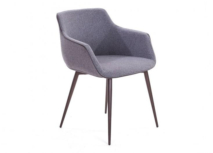 Chaise avec accoudoirs en tissu gris et liseré taupe - L60 cm