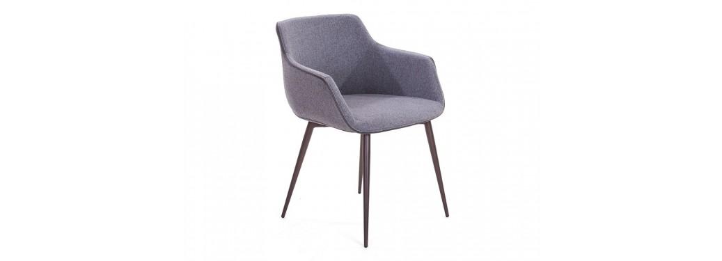 Chaise contemporaine Lovo - Tissu gris et liseré taupe