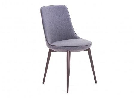 Chaise en tissu gris et liseré taupe - Ø 48 cm