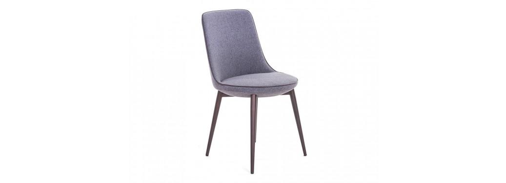 Chaise contemporaine Liko - Tissu gris et liseré taupe