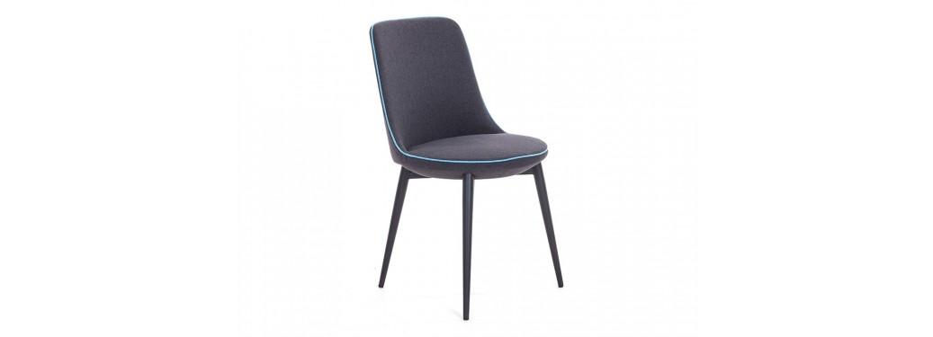 Chaise contemporaine Liko - Tissu gris et liseré bleu