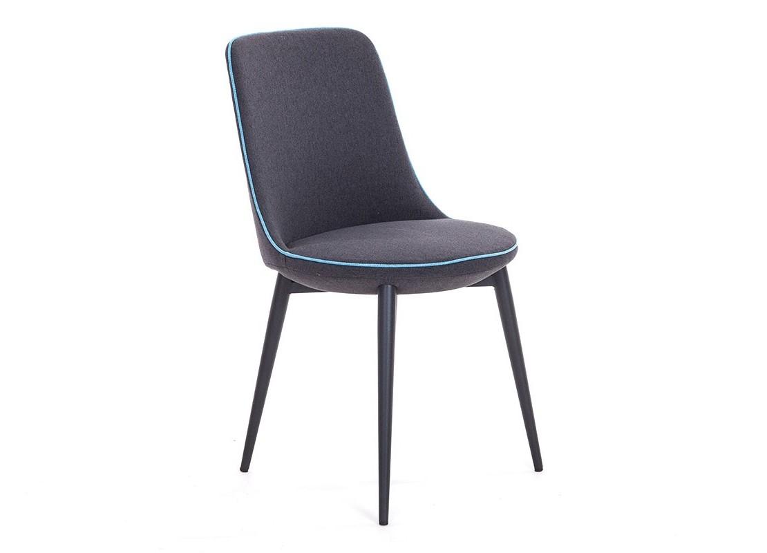 chaise en tissu gris acier laqu et liser bleu. Black Bedroom Furniture Sets. Home Design Ideas