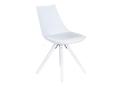 Chaise scandinave Olsen blanche - Cuir synthétique