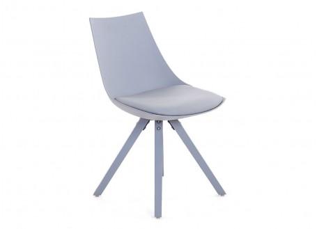 Chaise gris clair en cuir synthétique - L 45 cm