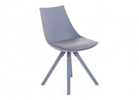 Chaise gris foncé en cuir synthétique - L 45 cm