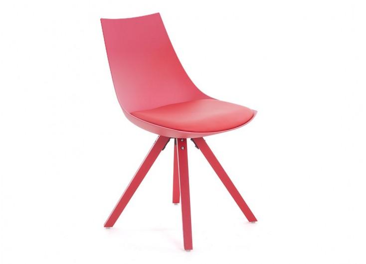 Chaise rouge en cuir synthétique - L 45 cm