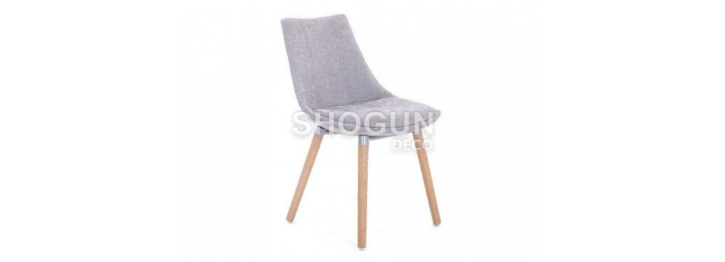 Chaise scandinave Nesbo - Tissu panama gris clair