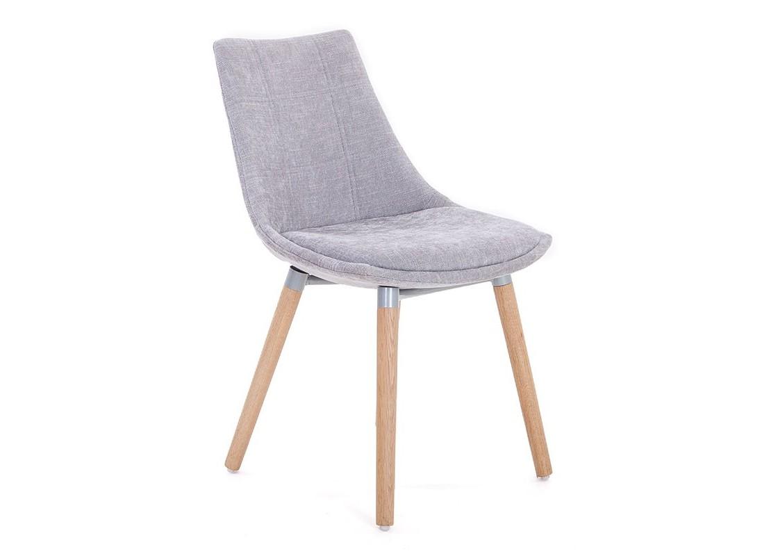 chaise scandinave gris clair en tissu panama. Black Bedroom Furniture Sets. Home Design Ideas