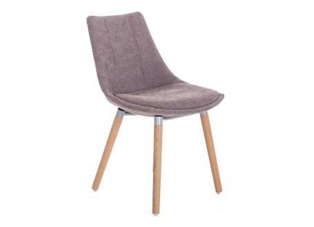 Chaise scandinave Nesbo - Tissu panama marron glacé