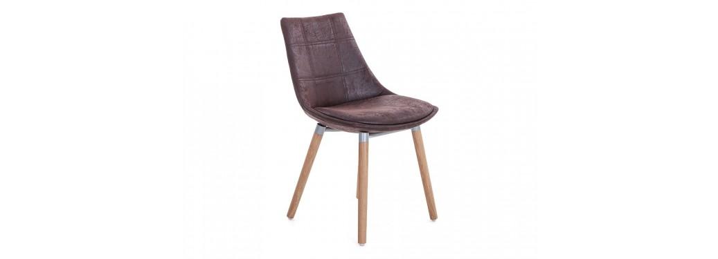 Chaise scandinave Nesbo - Tissu marron vintage