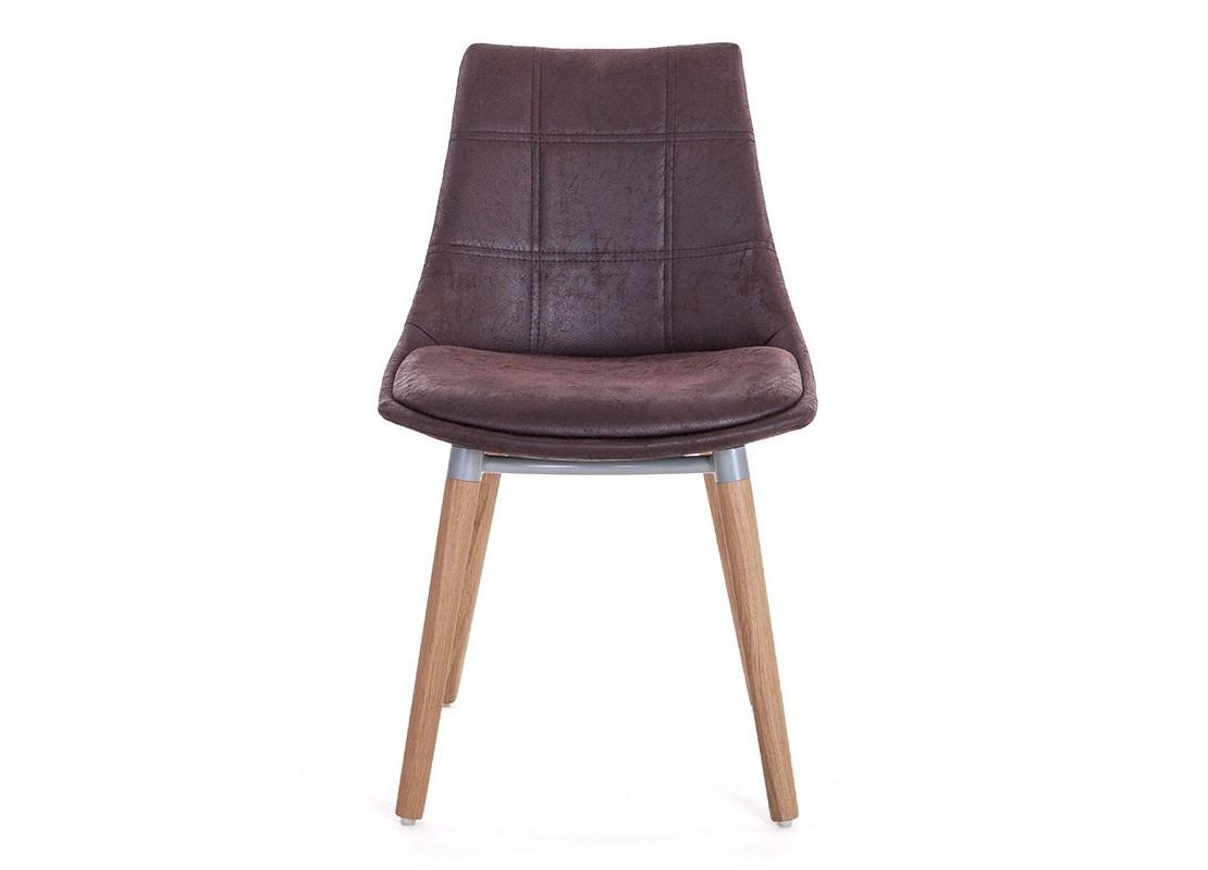 chaise scandinave marron en tissu vintage. Black Bedroom Furniture Sets. Home Design Ideas