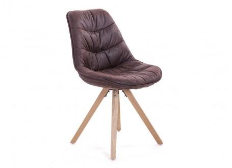 Chaise matelassée marron en tissu vintage - L 50 cm