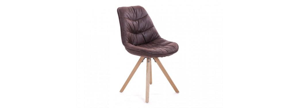 Chaise scandinave Larson - Tissu matelassé marron vintage